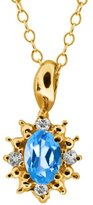 Gem Stone King 0.63 Ct Genuine Oval Swiss Blue Topaz Gemstone 14k Yellow Gold Pendant