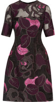 Lela Rose Holly Metallic Embroidered Organza Dress