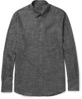 Ermenegildo Zegna - Button-down Collar Checked Brushed-cotton Shirt