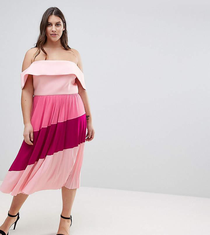 Asos Scuba Bardot Colourblock Pleated Midi Dress