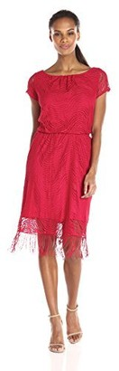 Tiana B Women's Crochet Blouson Dress with Cap Sleeves and Fringe Hem