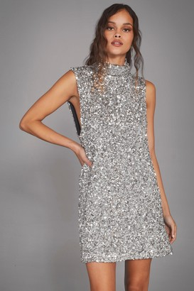 Nasty Gal Womens The Beat Goes On Sequin Mini Dress - Silver