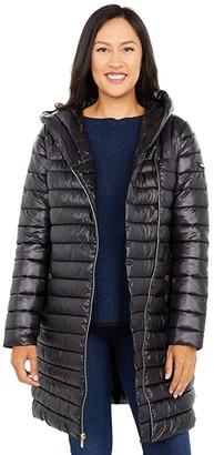 Via Spiga Asymmetrical Zip Packable Puffer Coat (Black) Women's Clothing
