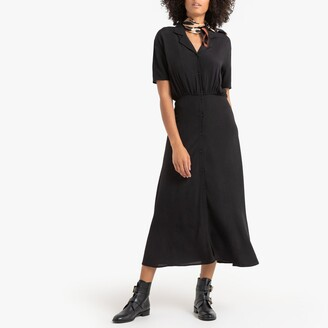 La Redoute Collections Midaxi Shirt Dress with Short Sleeves