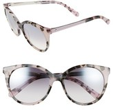 Kate Spade Women's 'Amayas' 53Mm Cat Eye Sunglasses - Black/ White