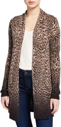 Neiman Marcus Ombre Leopard-Print Cashmere Duster Cardigan