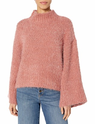 Cupcakes And Cashmere Women's Danyon Soft Boucle Yarn Mockneck Oversized Pullover