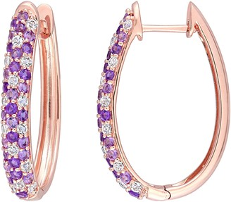 Bellini 14K Rose Gold 1.75 cttw Gemstone Hoop Earrings