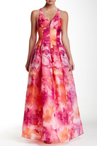 Marina Cross Back Printed Ball Gown