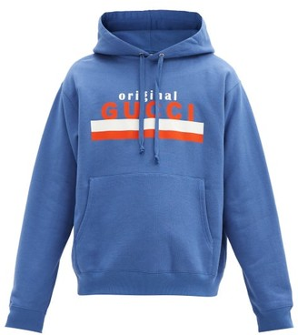 Gucci Original-print Cotton-jersey Hooded Sweatshirt - Blue