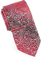 Jf J.Ferrar JF Ombr Paisley Tie with Tie Bar - Extra Long