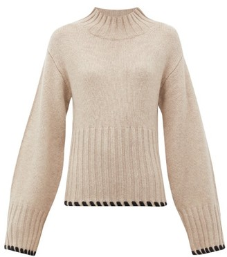 KHAITE Colette Whipstitched Cashmere Sweater - Cream