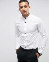 Asos Skinny Shirt In White With Grandad Collar And Contrast Buttons