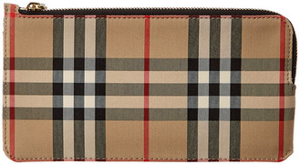 Burberry Small Vintage Check & Leather Zipped Pouch