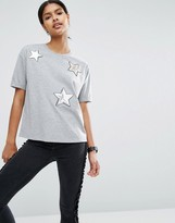Asos T-Shirt With Sequin Star Badges