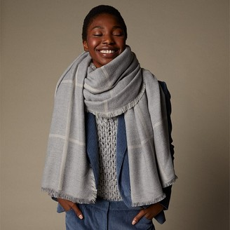 Love & Lore Love And Lore Reversible Windowpane Scarf Heather Grey & Oatmeal