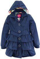Pink Platinum Big Girls Ruffled Trench Coat Jacket with Floral Accents Lining