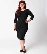 Unique Vintage Plus Size 1960s Style Black & White Dot Long Sleeve Mod Wiggle Dress