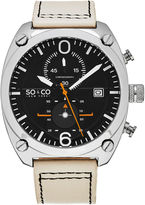 SO & CO Ny Men'S Aviator Style Chronograph Leather Strap Sport Quartz Watch J161P14