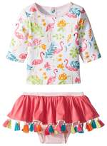 Mud Pie Floral Flamingo Rashguard Two-Piece Swimsuit Girl's Swimwear Sets