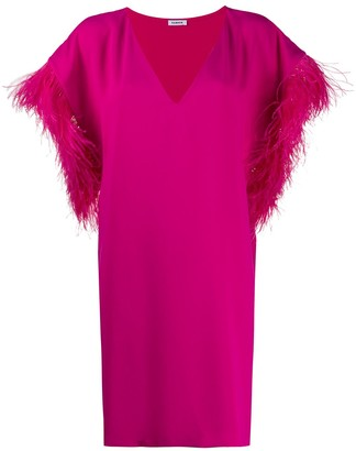 P.A.R.O.S.H. Panters ostrich feather shift dress