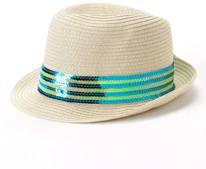 Toby sequined straw fedora hat - girls 7-14