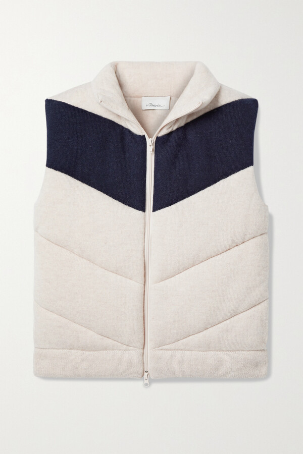 3.1 Phillip Lim Two-tone Quilted Wool-blend Vest - Ecru