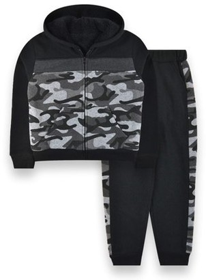 Rnd Power Solutions RND Boys 4-16 Sherpa Lined Camo Zip Up Sweatshirt & Jogger Sweatpants, 2-Piece Outfit Set