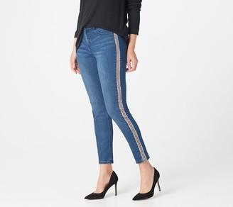 Lisa Rinna Collection Skinny Tuxedo Printed Stripe Indigo Jeans