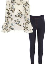 River Island Girls cream floral top and jeggings outfit