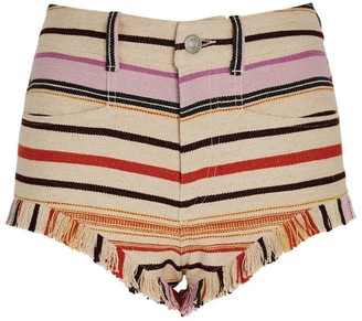 Isabel Marant Cotton-Linen Stripe Capinas Shorts