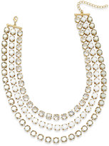 ABS by Allen Schwartz Gold-Tone Crystal and Stone Layer Necklace