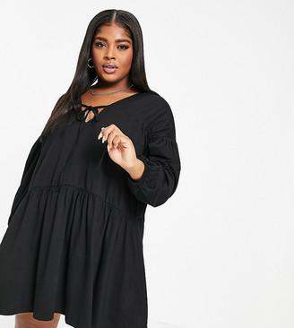 ASOS DESIGN Curve tiered smock dress in black