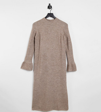 ASOS DESIGN Maternity knitted dress with bell sleeve detail in taupe