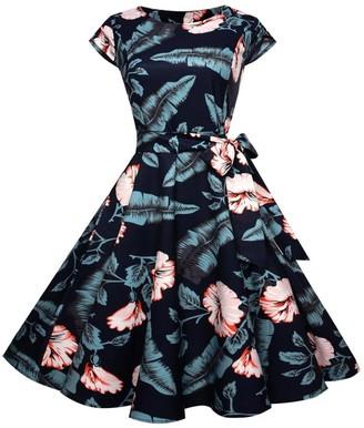 HUHU833 Vintage Retro 1950's Audrey Hepburn High Waist Skirt Sleeveless Evening Dress Casual Cocktail Swing Dress (M