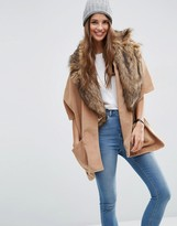 Asos Cape With Faux Fur Lapel Collar