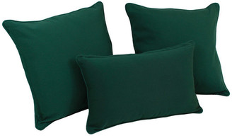 Blazing Needles Solid Twill Throw Pillows with Inserts, Set of 3,, Forest Green