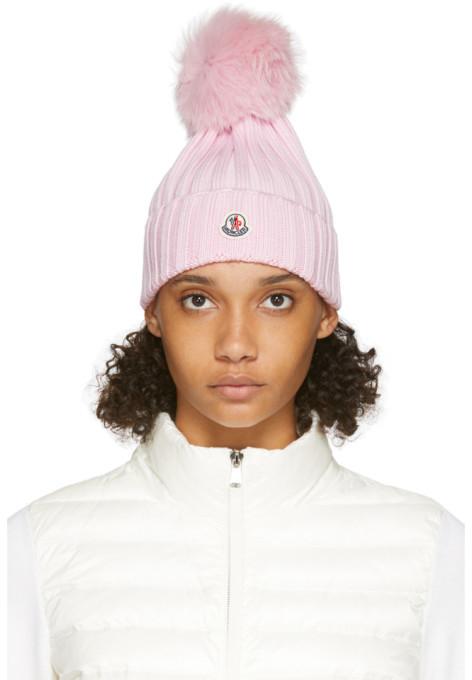 Moncler Pink Fur Rib Pom Pom Beanie