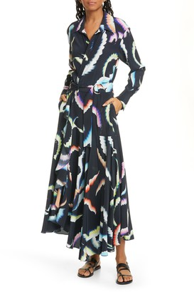 A.L.C. Amaya Long Sleeve Stretch Silk Maxi Dress