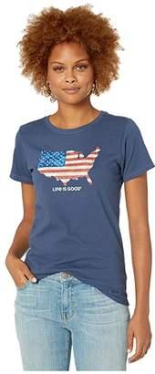 Life is Good Digital Camo Flag Crusher Tee (Darkest Blue) Women's T Shirt
