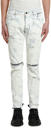 Palm Angels Men's Light-Wash Zipped Skinny Jeans w/ Distressing