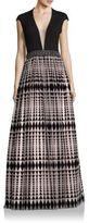 Jovani Deep V-Neck Geometric-Print Gown