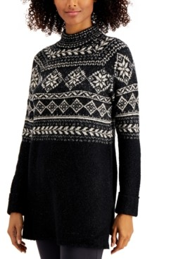 Style&Co. Style & Co Fair-Isle Tunic Sweater, Created for Macy's