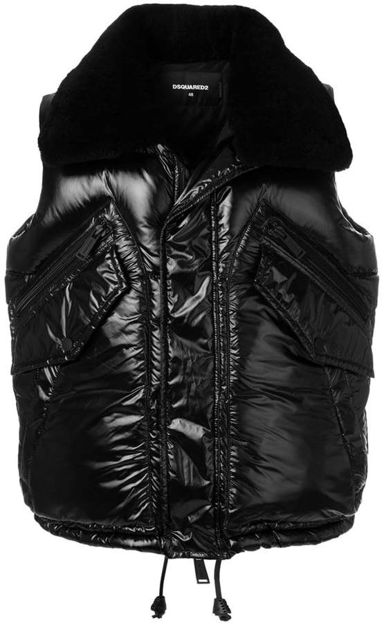 DSQUARED2 shearling collared gilet