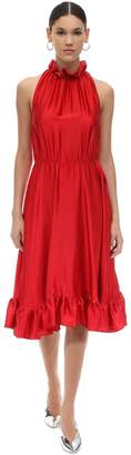 MSGM Pm Ruffled Satin Midi Dress