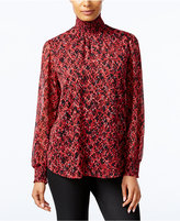 NY Collection Printed Turtleneck Blouse