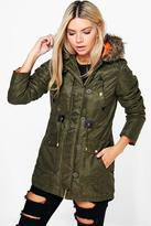 Boohoo Zoe Waxed Faux Fur Trim Parka