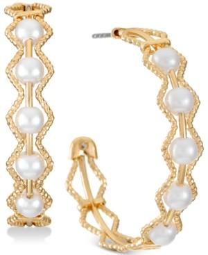 "Alfani Gold-Tone Medium Imitation Pearl C-Hoop Earrings, 1.25"", Created for Macy's"