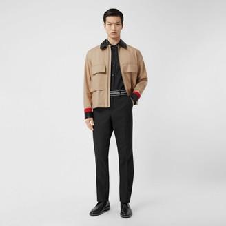Burberry Stripe Detail Cotton Gabardine Field Jacket
