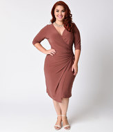 Kiyonna Plus Size Dusty Purple Criss Cross Faux Wrap Vixen Dress